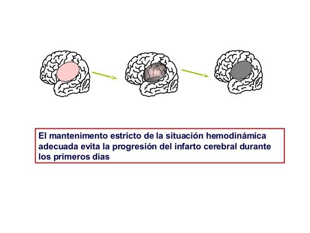 El mantenimento estricto de la situación hemodinámica adecuada evita la progresión del infarto cerebral durante los primer...