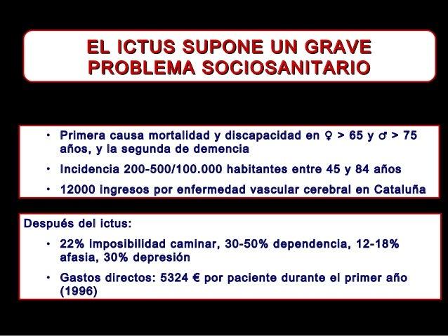EL ICTUS SUPONE UN GRAVE PROBLEMA SOCIOSANITARIO  • Primera causa mortalidad y discapacidad en ♀ > 65 y ♂ > 75 años, y la ...