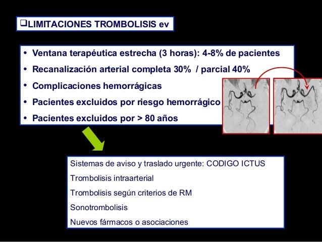 LIMITACIONES TROMBOLISIS ev  • • • • •  Ventana terapéutica estrecha (3 horas): 4-8% de pacientes Recanalización arterial...