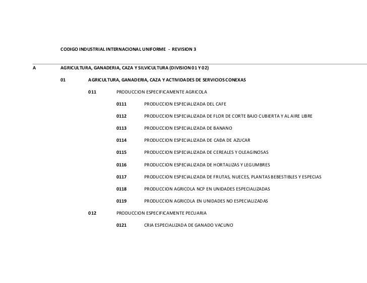 CODIGO INDUSTRIAL INTERNACIONAL UNIFORME - REVISION 3A   AGRICULTURA, GANADERIA, CAZA Y SILVICULTURA (DIVISION 01 Y 02)   ...