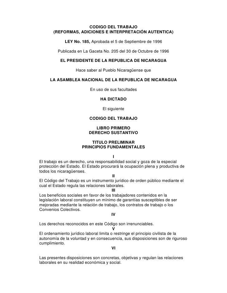 CODIGO DEL TRABAJO       (REFORMAS, ADICIONES E INTERPRETACIÓN AUTENTICA)             LEY No. 185, Aprobada el 5 de Septie...