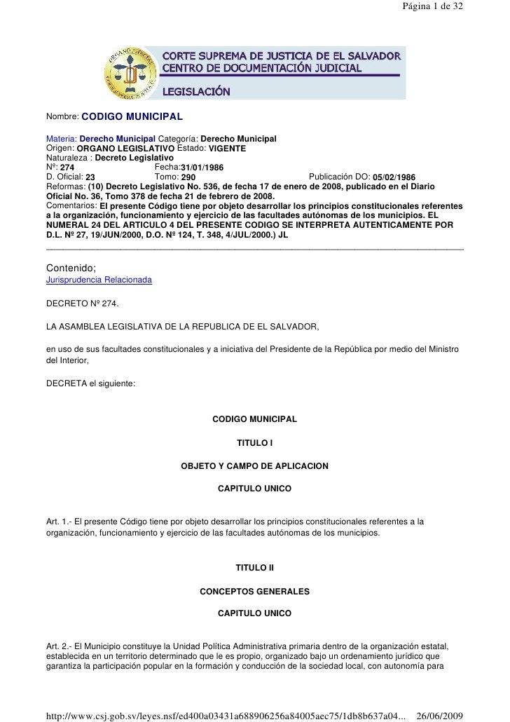 Página 1 de 32Nombre: CODIGO       MUNICIPALMateria: Derecho Municipal Categoría: Derecho MunicipalOrigen: ORGANO LEGISLAT...