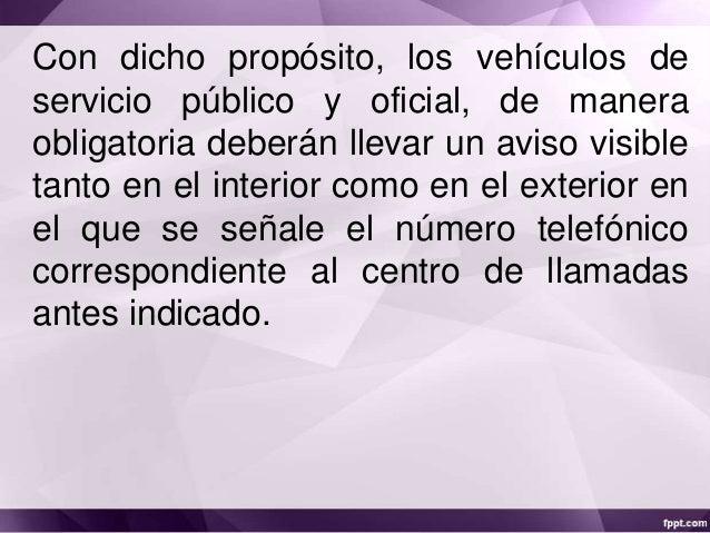 Codigo nacional de transito Numero telefonico del ministerio del interior