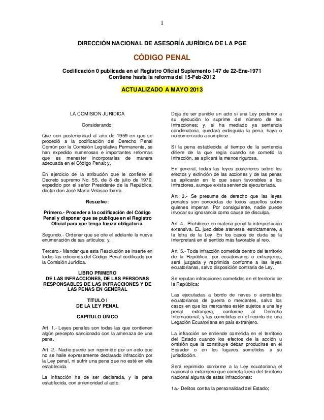 1 DIRECCIÓN NACIONAL DE ASESORÍA JURÍDICA DE LA PGE CÓDIGO PENAL Codificación 0 publicada en el Registro Oficial Suplement...