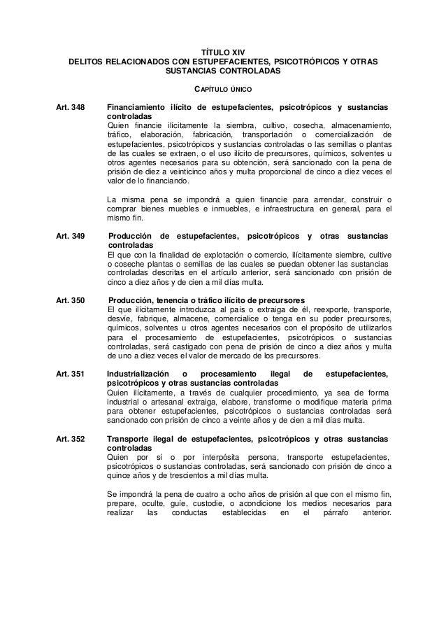 TÍTULO XIV  DELITOS RELACIONADOS CON ESTUPEFACIENTES, PSICOTRÓPICOS Y OTRAS  SUSTANCIAS CONTROLADAS  CAPÍTULO ÚNICO  Art. ...
