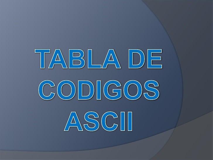 TABLA DE CODIGOS ASCII<br />