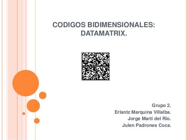 CODIGOS BIDIMENSIONALES: DATAMATRIX. Grupo 2. Erlantz Marquina Villalba. Jorge Martí del Rio. Julen Padrones Coca.