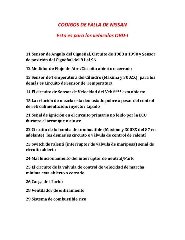 CODIGOS DE FALLA DE NISSAN Esta es para los vehiculos OBD-I 11 Sensor de Angulo del Cigueñal, Circuito de 1988 a 1990 y Se...