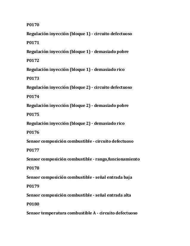 P0170 Regulación inyección (bloque 1) - circuito defectuoso P0171 Regulación inyección (bloque 1) - demasiado pobre P0172 ...