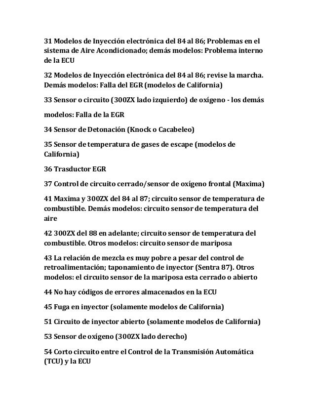 31 Modelos de Inyección electrónica del 84 al 86; Problemas en el sistema de Aire Acondicionado; demás modelos: Problema i...