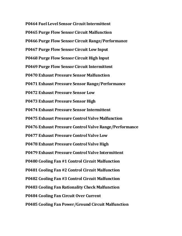 P0464 Fuel Level Sensor Circuit Intermittent P0465 Purge Flow Sensor Circuit Malfunction P0466 Purge Flow Sensor Circuit R...