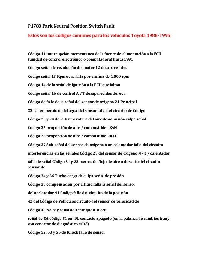 P1780 Park Neutral Position Switch Fault Estos son los códigos comunes para los vehículos Toyota 1988-1995:  Código 11 int...