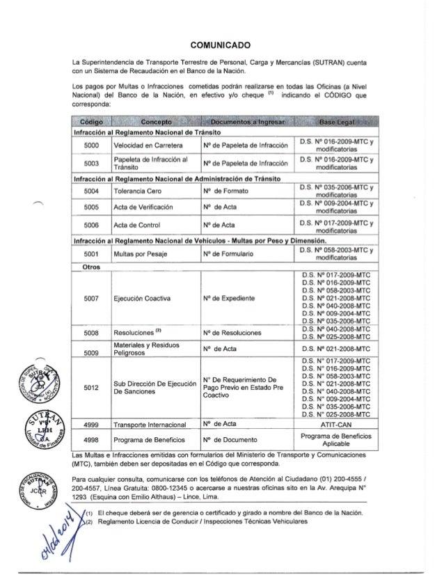COMUNICADO  La Superintendencia de Transporte Terrestre de Personal,  Carga y Mercancias (SUTRAN) cuenta con un Sistema de...