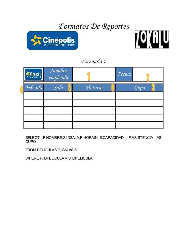 Formatos De Reportes Escenario 1 SELECT P.NOMBRE,S.IDSALA,P.HORAINI,S.CAPACIDAD -P.ASISTENCIA AS CUPO FROM PELICULAS P, SA...