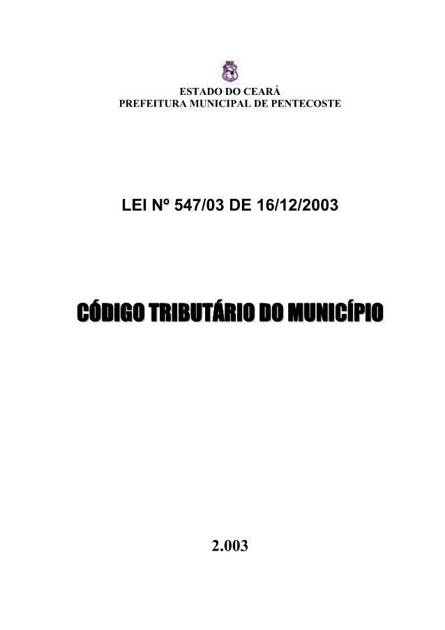 Lei que dispões sobre o Codigo Tributário do Municipio de Pentecoste