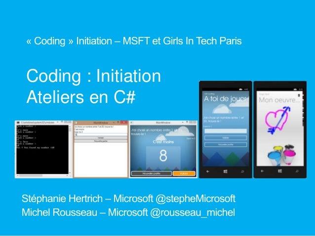Coding : Initiation Ateliers en C#
