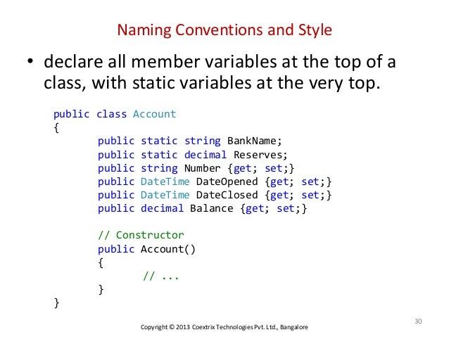 Naming Convention: General Naming And Coding Conventions