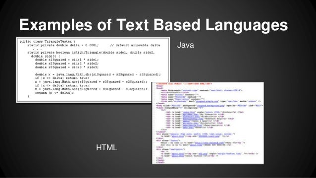 Examples of Text Based Languages Java HTML