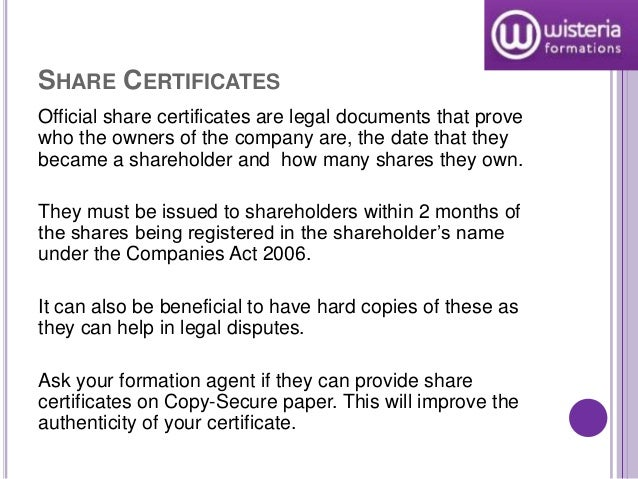 SHARE CERTIFICATES ...  Company Share Certificates