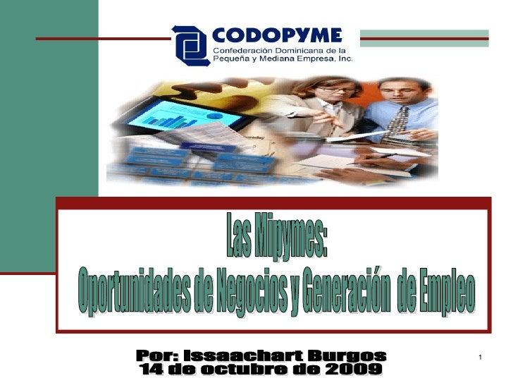 Las Mipymes:  Oportunidades de Negocios y Generación  de Empleo Por: Issaachart Burgos 14 de octubre de 2009