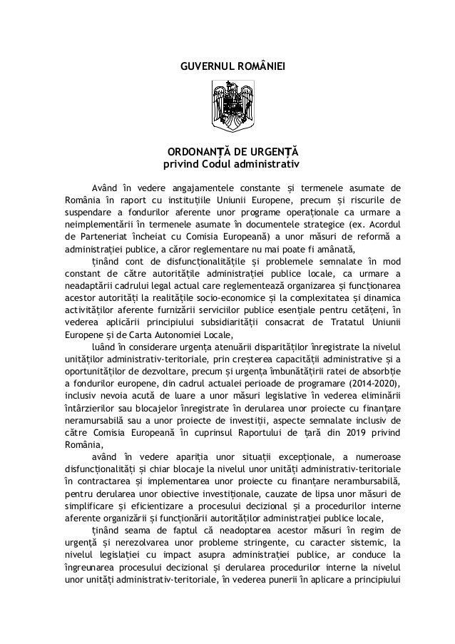 GUVERNUL ROMÂNIEI ORDONAN Ă DE URGEN ĂȚ Ț privind Codul administrativ Având în vedere angajamentele constante i termenele ...