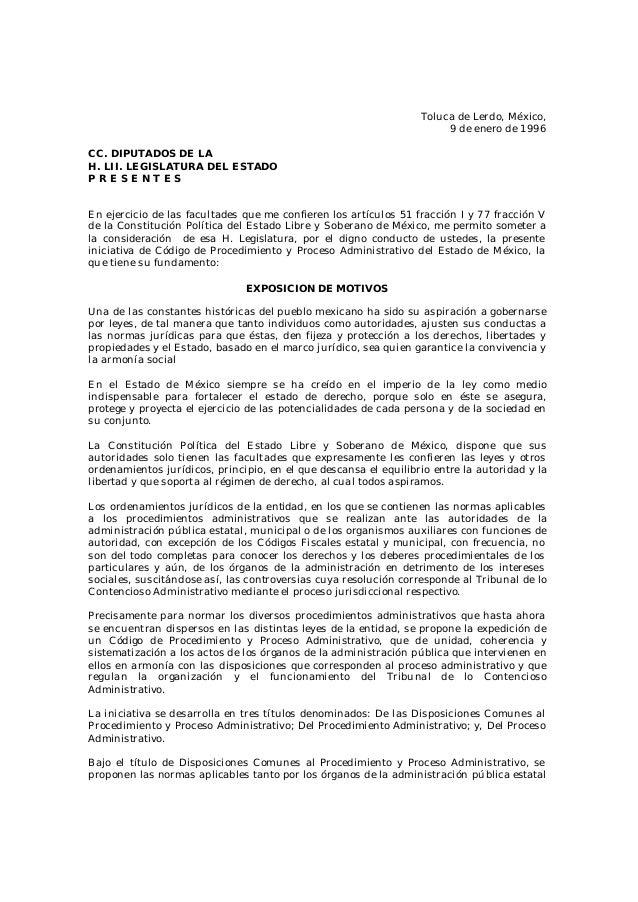 Toluca de Lerdo, México, 9 de enero de 1996 CC. DIPUTADOS DE LA H. LII. LEGISLATURA DEL ESTADO P R E S E N T E S En ejerci...