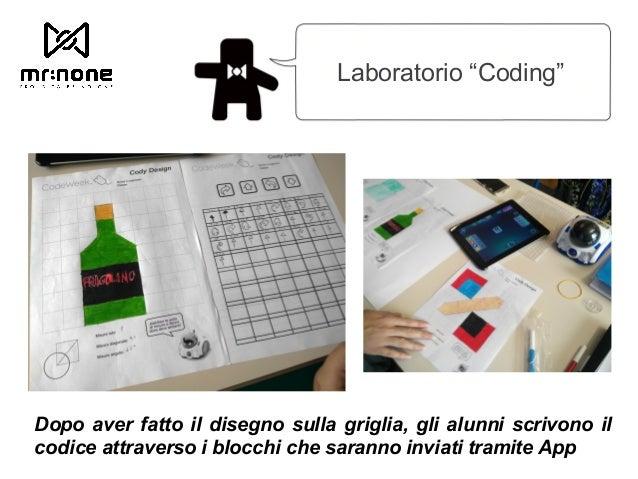 """Laboratorio """"Coding"""" Dopo aver fatto il disegno sulla griglia, gli alunni scrivono il codice attraverso i blocchi che sara..."""