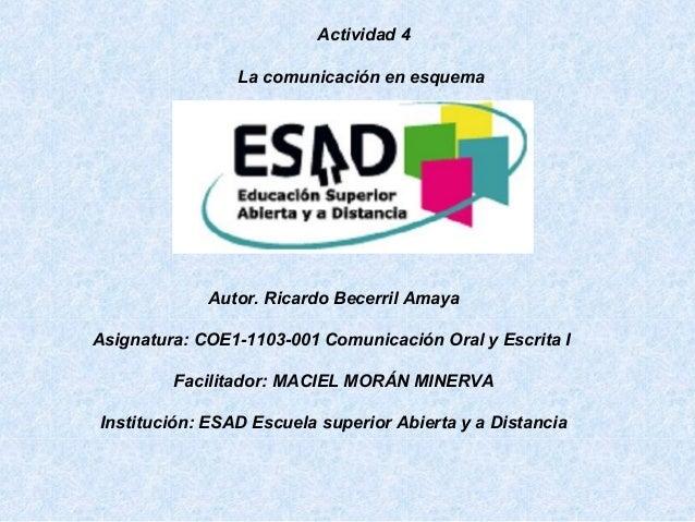 Autor. Ricardo Becerril Amaya Asignatura: COE1-1103-001 Comunicación Oral y Escrita I Facilitador: MACIEL MORÁN MINERVA In...