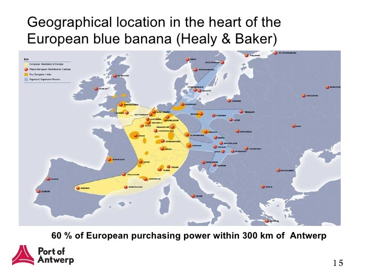 The Blue Banana (French: banane bleue, also known as the European Megalopolis or the Manchester–Milan Axis) is a discontinuous corridor of urbanisation spreading over Western and Central Europe, with a population of around million.