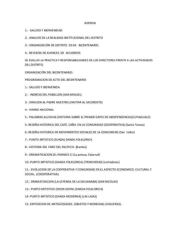 AGENDA<br />1.-  SALUDO Y BIENVENIDAD<br />2.- ANALISIS DE LA REALIDAD INSTITUCIONAL DEL DISTRITO<br />3.- ORGANIZACIÓN DE...