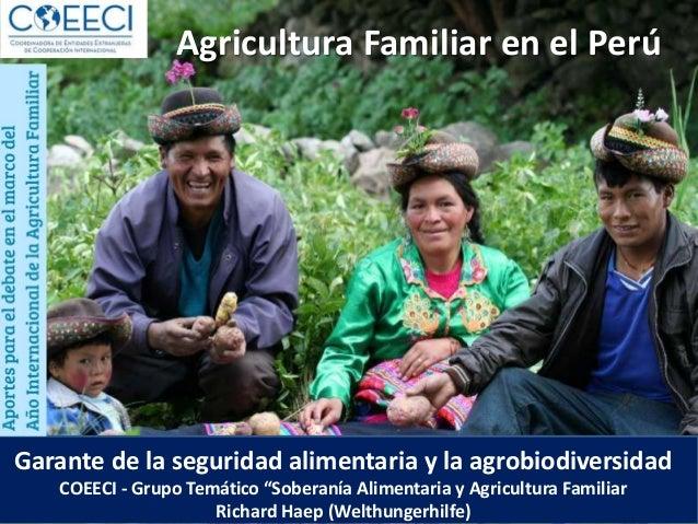 """Agricultura Familiar en el Perú Garante de la seguridad alimentaria y la agrobiodiversidad COEECI - Grupo Temático """"Sobera..."""