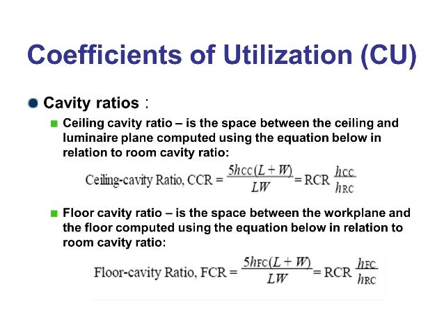 Coefficient Of Utilization Cu