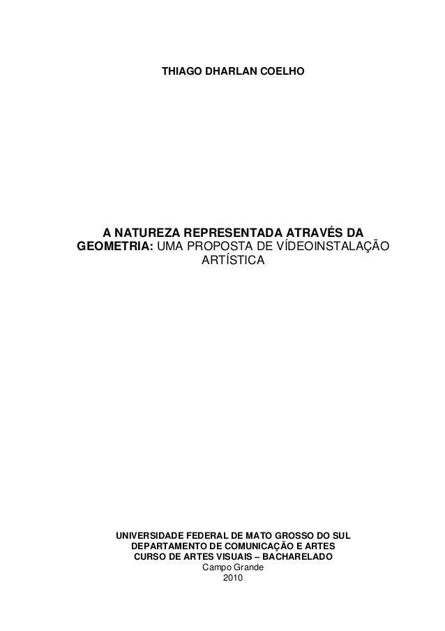 THIAGO DHARLAN COELHO A NATUREZA REPRESENTADA ATRAVÉS DA GEOMETRIA: UMA PROPOSTA DE VÍDEOINSTALAÇÃO ARTÍSTICA UNIVERSIDADE...