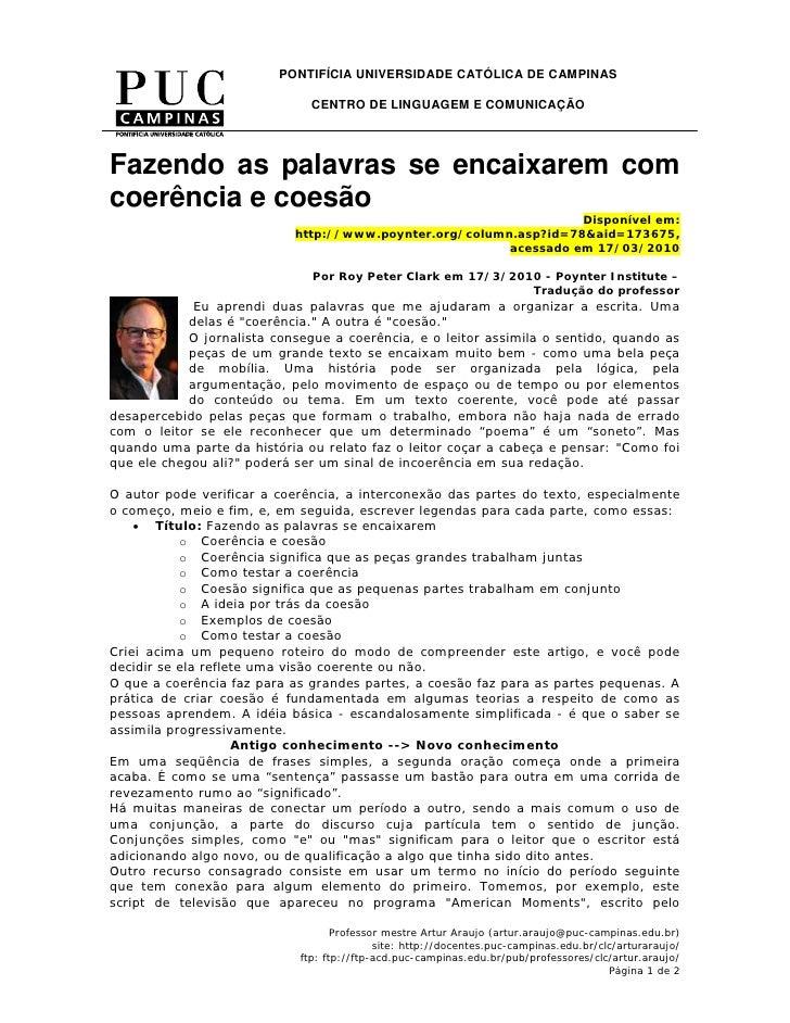 PONTIFÍCIA UNIVERSIDADE CATÓLICA DE CAMPINAS                                 CENTRO DE LINGUAGEM E COMUNICAÇÃO     Fazendo...