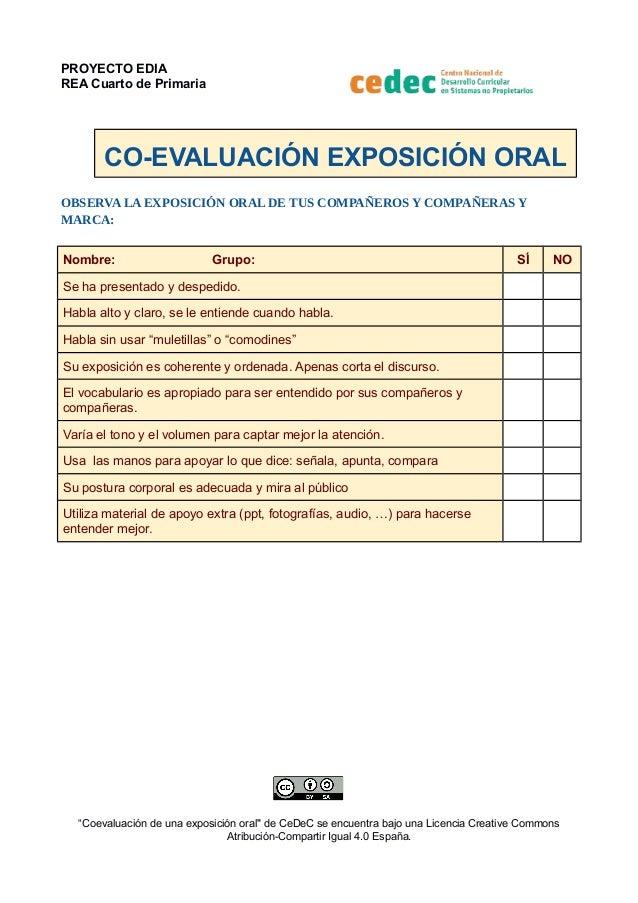 PROYECTO EDIA REA Cuarto de Primaria CO-EVALUACIÓN EXPOSICIÓN ORAL OBSERVA LA EXPOSICIÓN ORAL DE TUS COMPAÑEROS Y COMPAÑER...