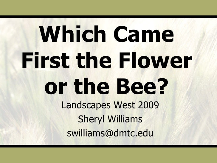 Which Came First the Flower or the Bee? Landscapes West 2009 Sheryl Williams [email_address]