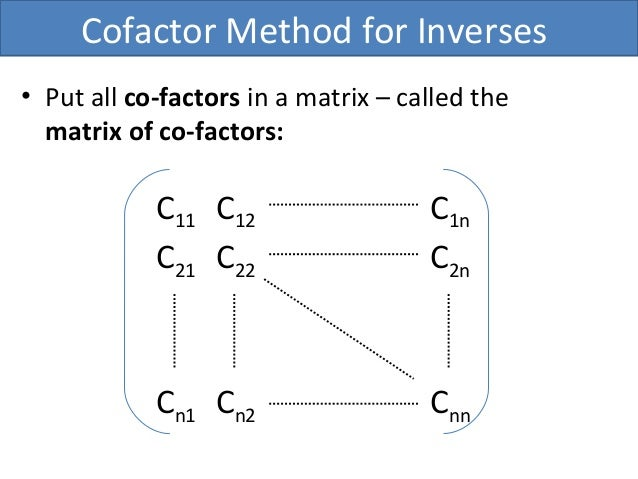 how to find cofactor of a matrix