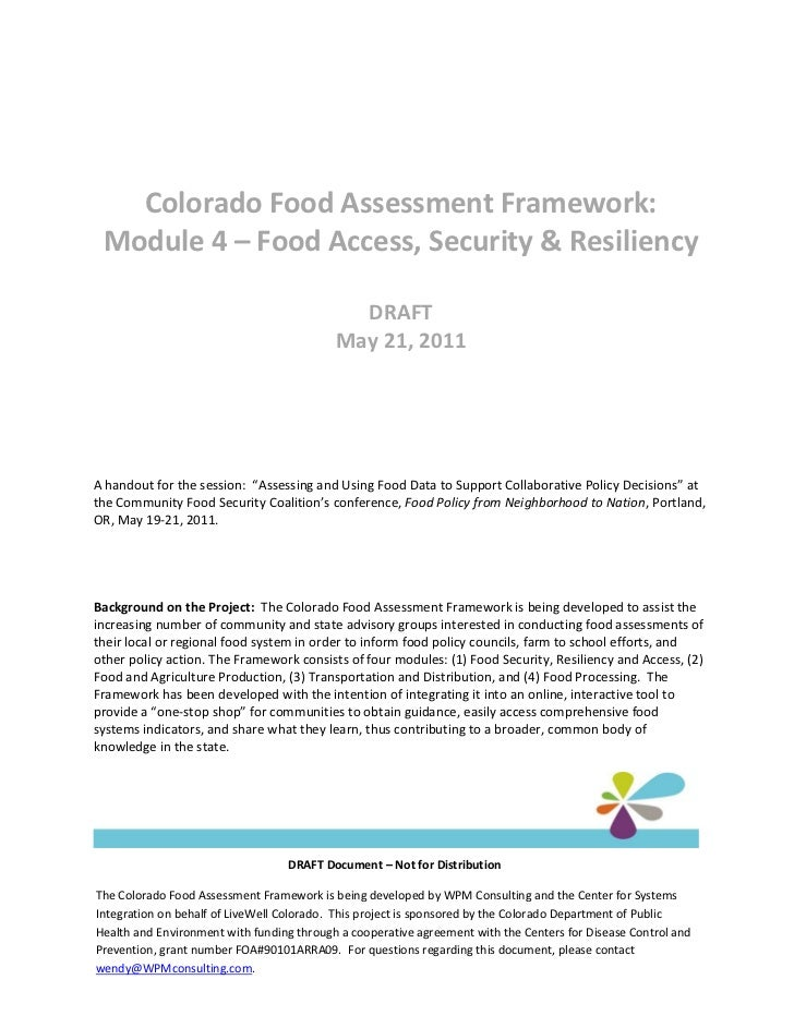Colorado Food Assessment Framework: Module 4 – Food Access, Security & Resiliency                                         ...