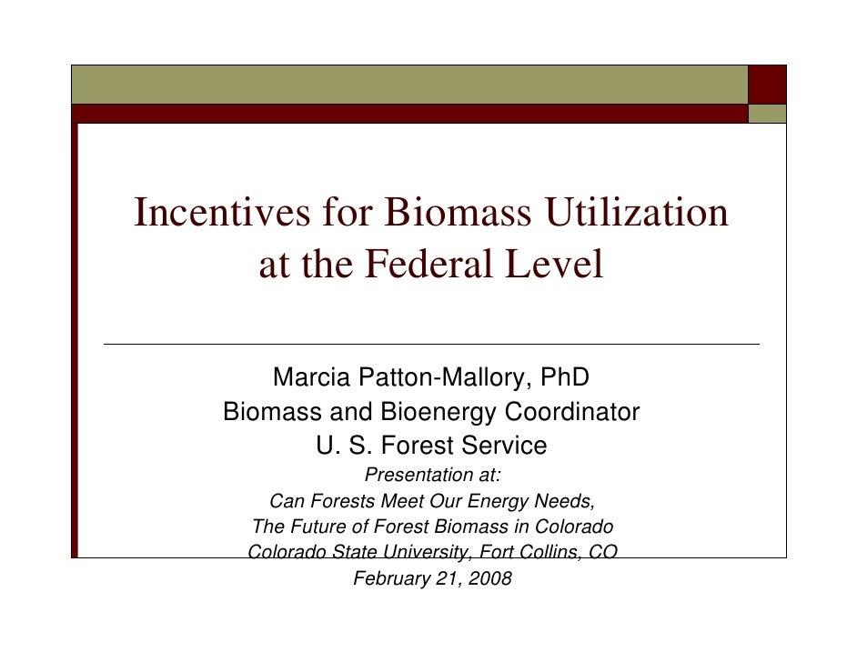 Incentives for Biomass Utilization        at the Federal Level           Marcia Patton-Mallory, PhD      Biomass and Bioen...
