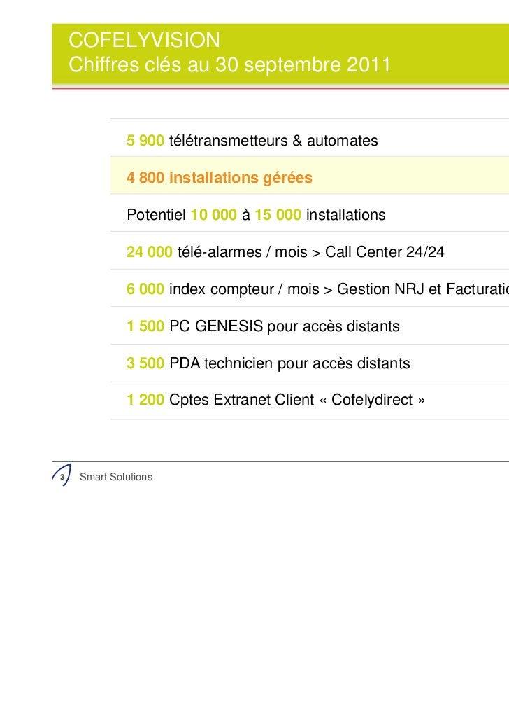 COFELYVISION    Chiffres clés au 30 septembre 2011              5 900 télétransmetteurs & automates              4 800 ins...