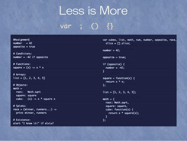 Less is More var ; () {}