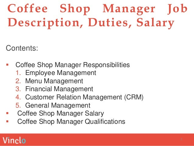 Coffee Shop Manager Job Description, Duties, Salary