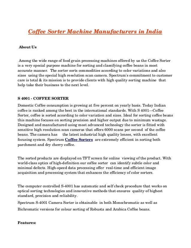 Coffee Sorter Machine Manufacturers in India  About Us  Among the wide range of food grain processing machines offered ...