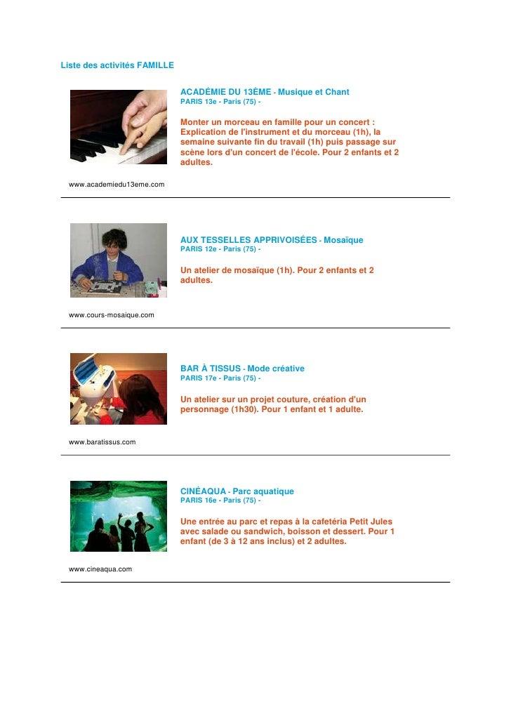 Liste des activités FAMILLE                                 ACADÉMIE DU 13ÈME - Musique et Chant                          ...