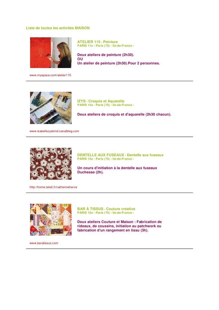Liste de toutes les activités MAISON                                           ATELIER 115 - Peinture                     ...