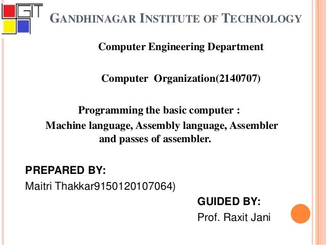 Computer Organization - Programming the basic computer