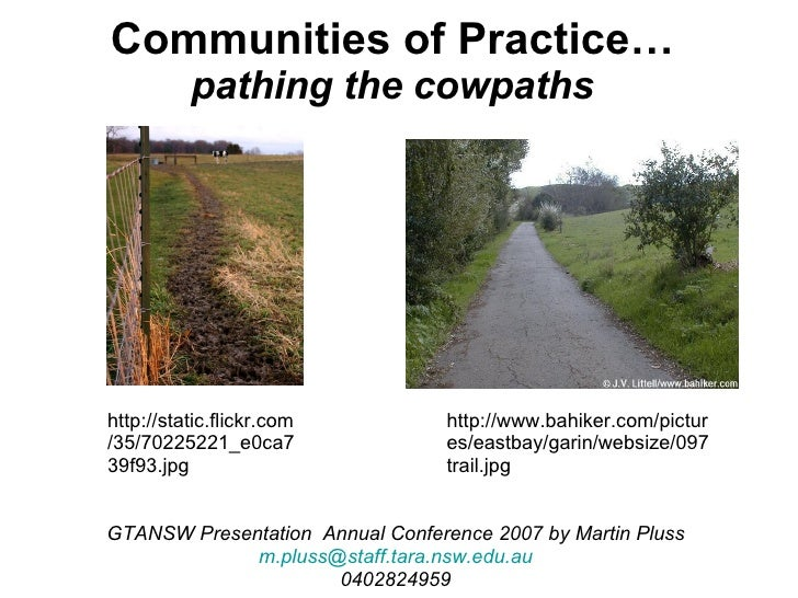 Communities of Practice… pathing the cowpaths GTANSW Presentation  Annual Conference 2007 by Martin Pluss [email_address] ...