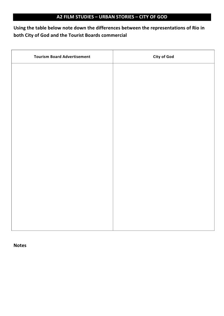 A2 FILM STUDIES – URBAN STORIES – CITY OF GODUsing the table below note down the differences between the representations o...
