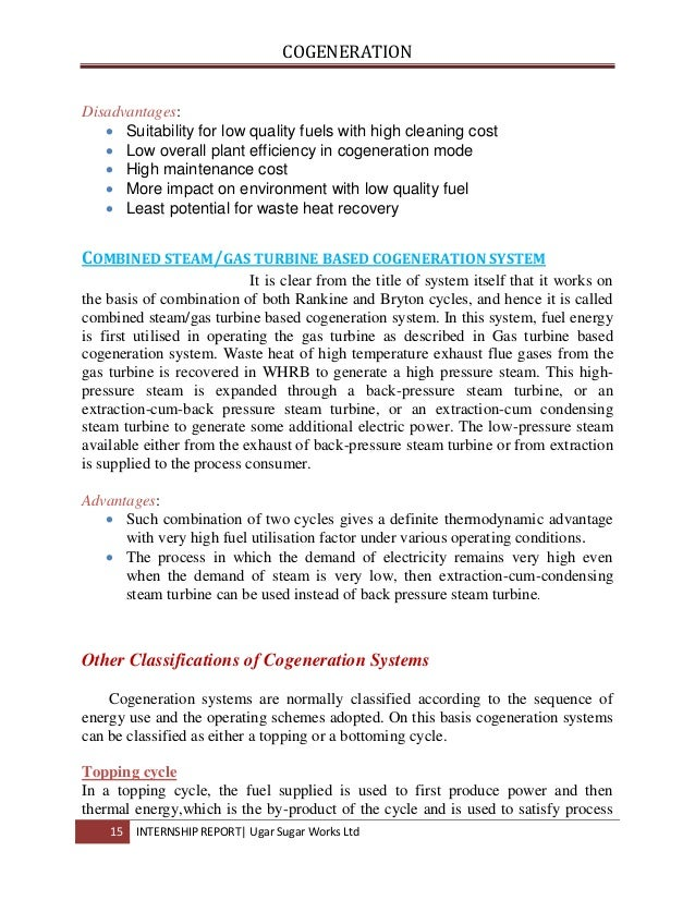 Internship Report on Cogeneration