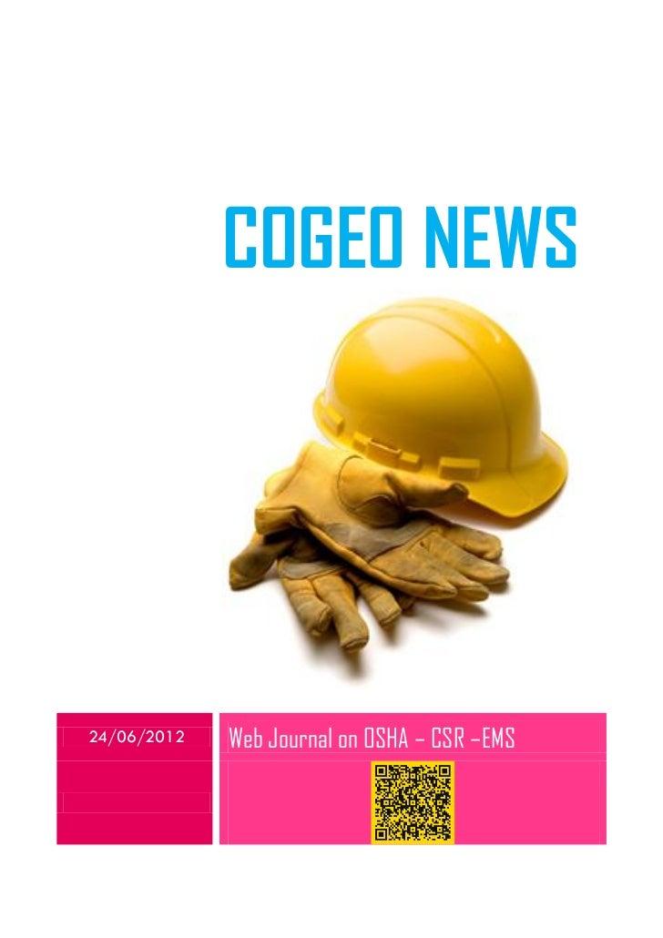 COGEO NEWS24/06/2012   Web Journal on OSHA – CSR –EMS